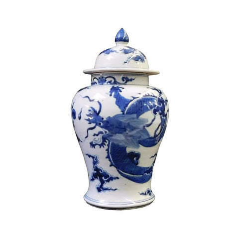 Chinese Blue & White Dragon Graphic Porcelain General Jar cs1709-1S