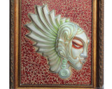 Unique Handcrafted European Glass Wall Painting Angle Face Sculpture wk2199S