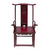 Dark Red Chinese Ming Style Rosewood Yoke-Back Armchair wk2287S