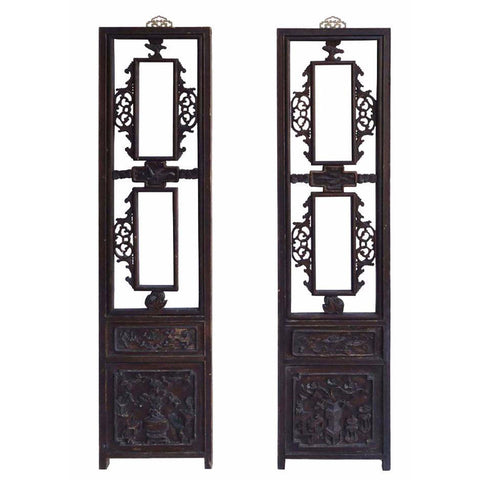 Pair Chinese Antique Flower Vase Carving Screen Wall Panel