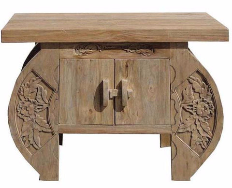 Vintage Chinese Rustic Light Color Camphor Wood Flower Carving Side Table Cabinet wk2425S