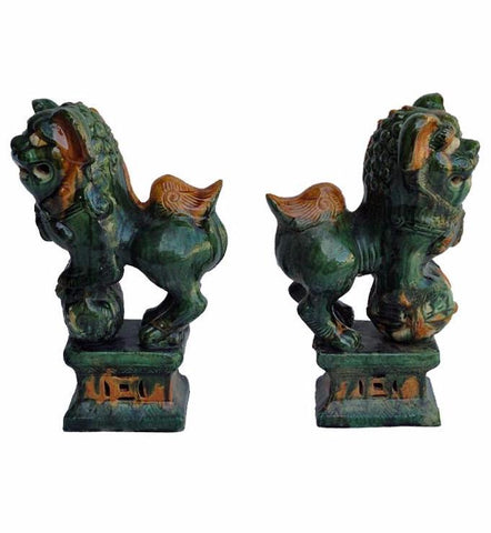 Unique Handmade Pair Chinese Green Ceramic Hand Carving Feng Shui Foo Dog wk2507S