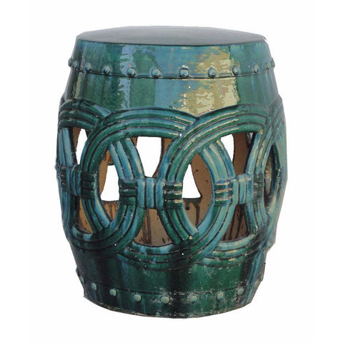 ceramic green glaze garden stool