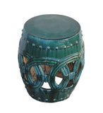 Chinese Handmade Ceramic Clay Green Glaze Round Stool wk2664S