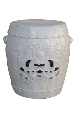 Chinese Clay White Foo Dog Head Lotus Carving Garden Stool Stand wk2667S