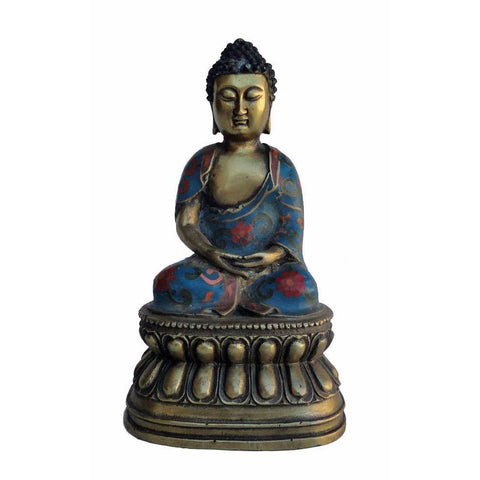 Tibet Cloisonne Brass Sitting Buddha Statue On Lotus Base