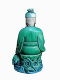 Chinese Green Porcelain Sitting Old Man Holding Grand Kid And Money Statue wk2838S