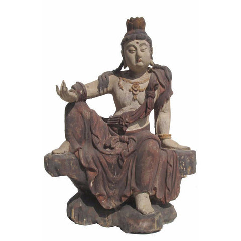 wood sitting Quin Yin Statue