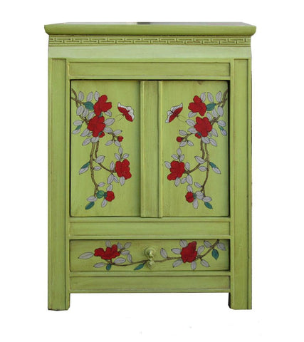 Chinese Green Flower Bird Painting Nightstand End Table Cabinet wk2942S