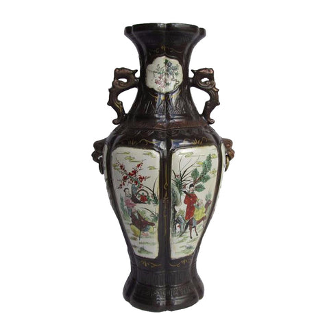 Antique 8 Immortals Handing Paint Porcelain Flower Vase