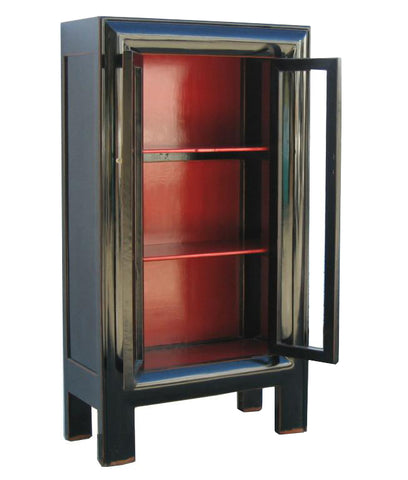 ... Tall Heavy Wood Black Lacquer Red Interior Glass Door Bookcase, Display  Cabinet Wk519S ... Part 50