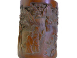 Chinese Bamboo Scenery Carved Brush Pot Holder Display