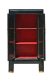 Tall Black Lacquer And Red Inside Paint Glass Door Bookcase, Display Cabinet wk519S