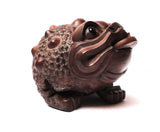 hand carved wood money frog