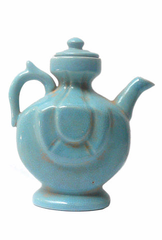 Chinese Blue Crackle Ceramic Pottery Jar Teapot Display