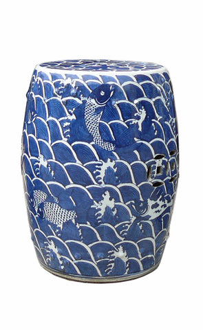 Chinese Blue & White Porcelain Round Fishes Stool