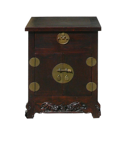 Chinese Brown Moon Face Foo Dog Carved End Table Nightstand