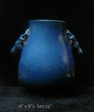 Chinese Deer Head Accent Blue Glaze Vase Pot