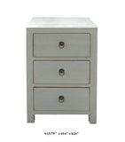 Chinese Light Gray White 3 Drawers Cabinet Table
