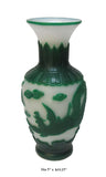 Chinese Peking Glass Green & White Hand Carving Phoenix Vase