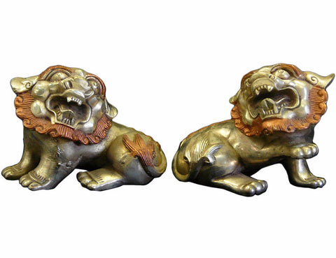 Chinese Silver Rose Color Couching Foo Dog Fengshui Figures