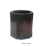 Chinese Simple Rosewood Hauli Pentagon Shape Brush Pot
