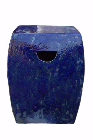Chinese Square Flat Body Navy Blue Clay Garden Stool