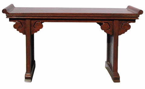 Chinese Vintage Red Brown Rustic Lacquer Altar Console Table