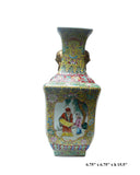 Chinese Yellow Base Canton Famille Porcelain Vase