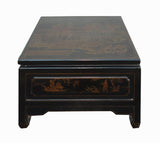 Chinese Square Leather Black Color Coffee Table Gold Painting Ancient Life Style Art With Drawer wk2401S