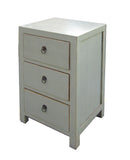 Chinese Light Gray White 3 Drawers Cabinet Table cs028S