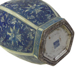 Chinese Blue & White Porcelain Lotus Flower Hexagon Round Vase cs068S