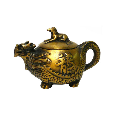 Chinese Handmade Metal Bronze Color Dragon Horse Teapot Display