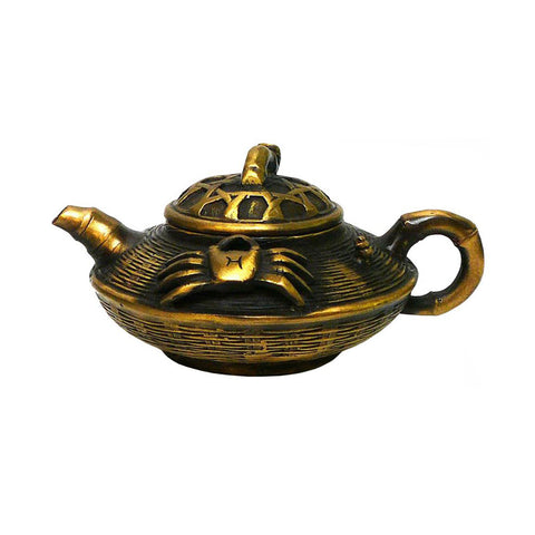 Chinese Handmade Metal Bronze Color Crab Teapot Display