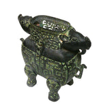 Ancient Green Bronze-ware Ram Ox Ding Incense Burner