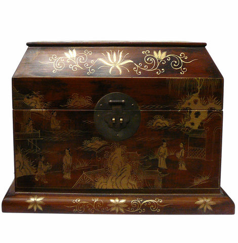 Chinese light brown lacquer golden scenery chest box