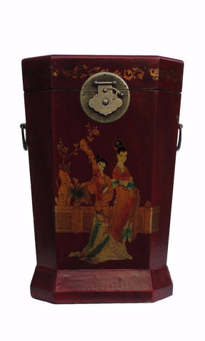 Chinese Red Lady Graphic Sqaure Storage Box Trash Bucket cs1102S