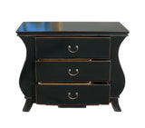 Chinese Black Lacquer Curve Legs 3 Drawers Dresser Cabinet cs1152S