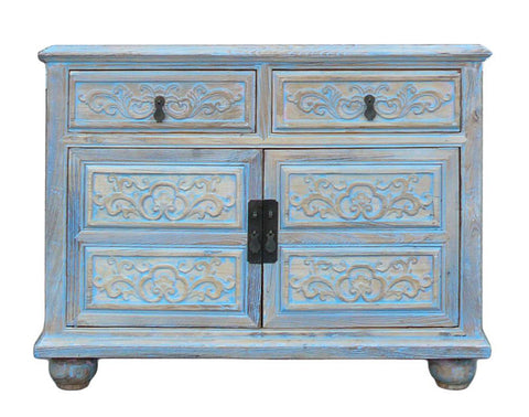 rustic light blue carved cabinet