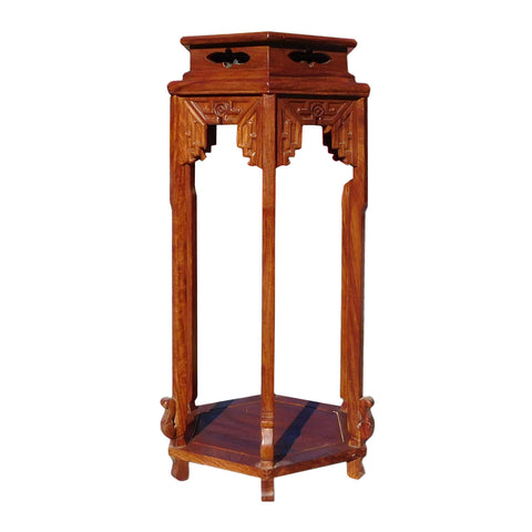 rosewood hexagon tall flower stand
