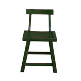 wood chair - chair w back - grass green stool
