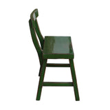 Distressed Grass Green Short Chair Wood Stool with Back cs1231S