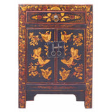 Chinese Black Base Golden Graphic End Table Nightstand cs1232S