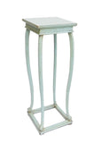 Chinese Handmade Light Pastel Blue Square Plant Stand Table cs1253S