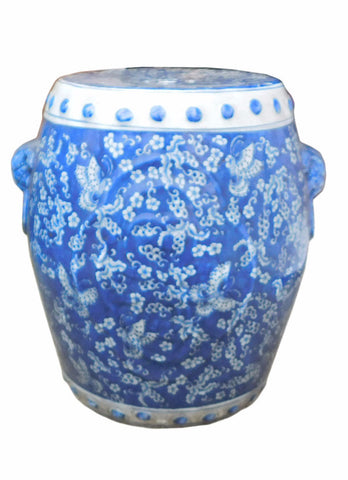 Chinese Blue & White Porcelain Butterflies Round Stool Table cs1256S