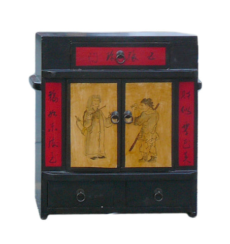 Chinese Black Oriental Scenery Small Wood Chest Cabinet cs1259-2S