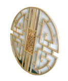 Chinese Round Ru Yi Geometric Bats Wood Wall Panel Plaque cs1287S