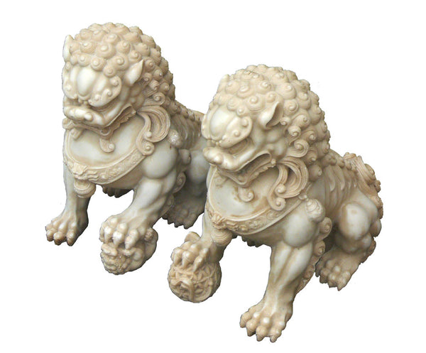 Pair Chinese Off White Marble Like Fengshui Foo Dogs