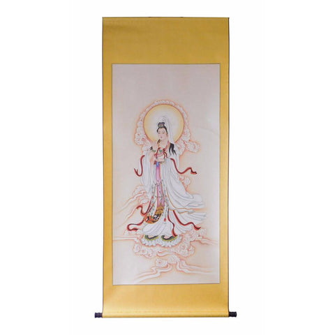water color Kwan Yin scroll painting