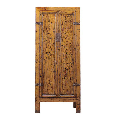 yellow brown tall cabinet